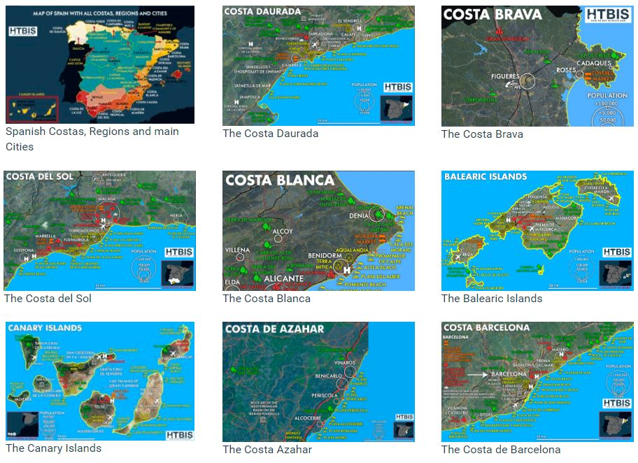 The best infographic maps on the Spanish Costas
