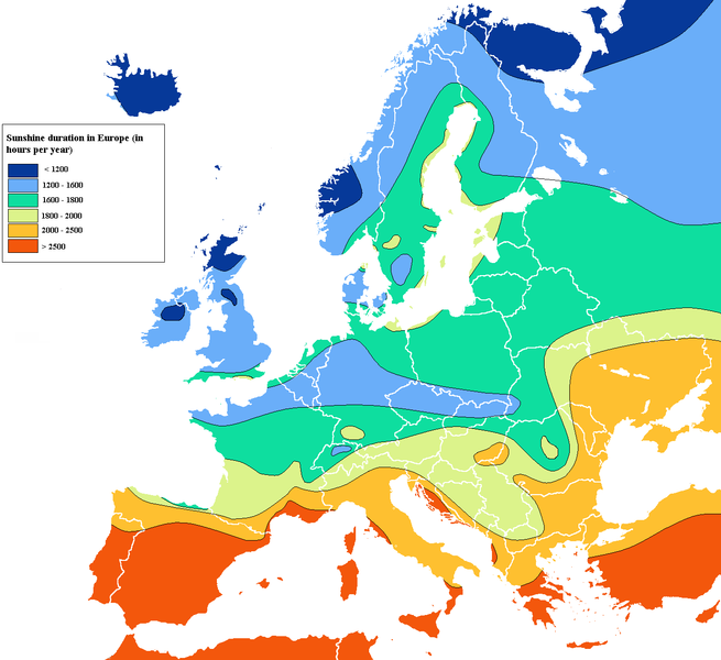 Sunshine map of Europe, in Hours per year