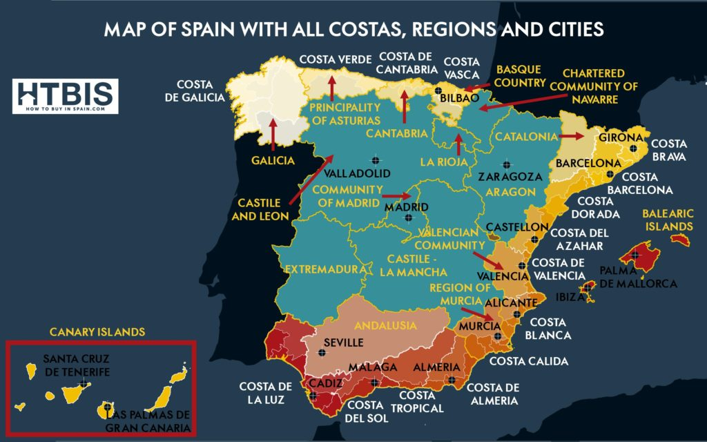 Infographic Map of Spain with all costas, Regions and Cities