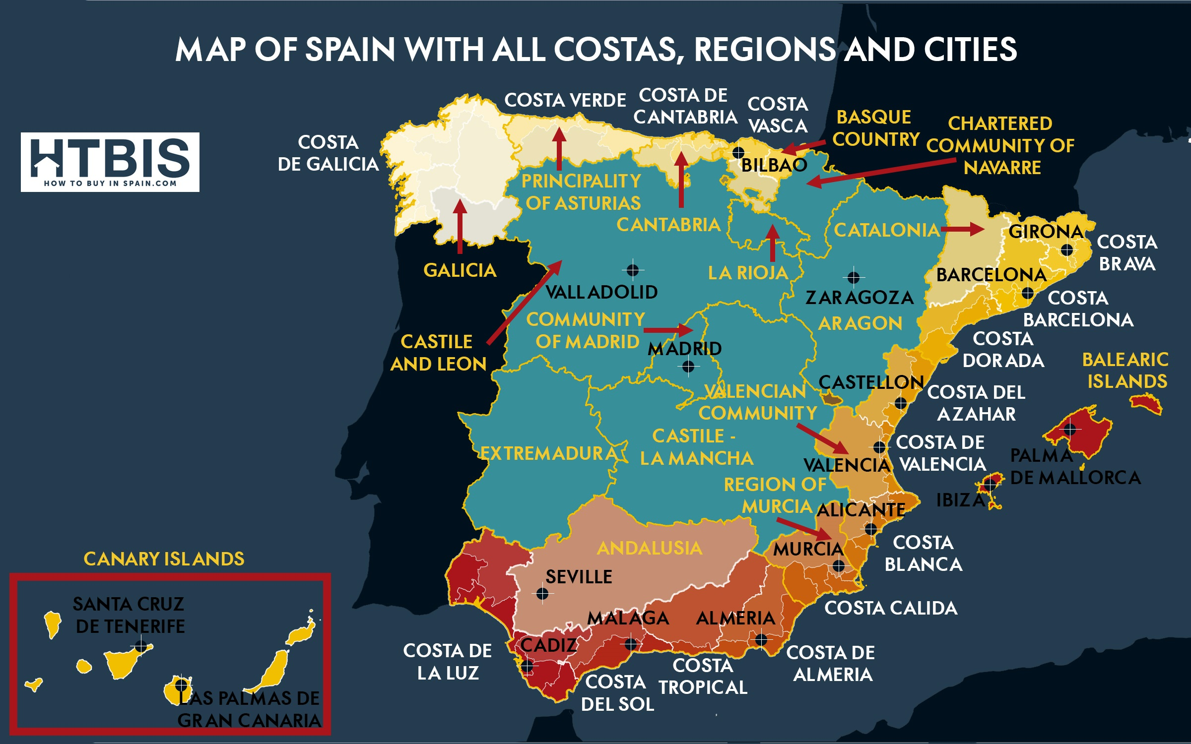 infographic map of spain with all costas regions and cities