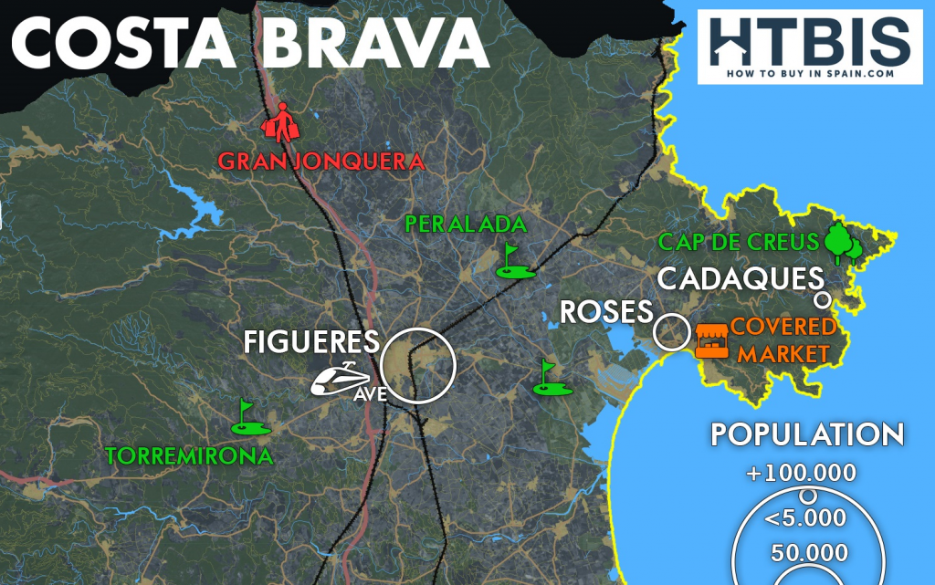 Costa Brava Map Of Spain.Costa Brava Small For News 2 Map How To Buy In Spain