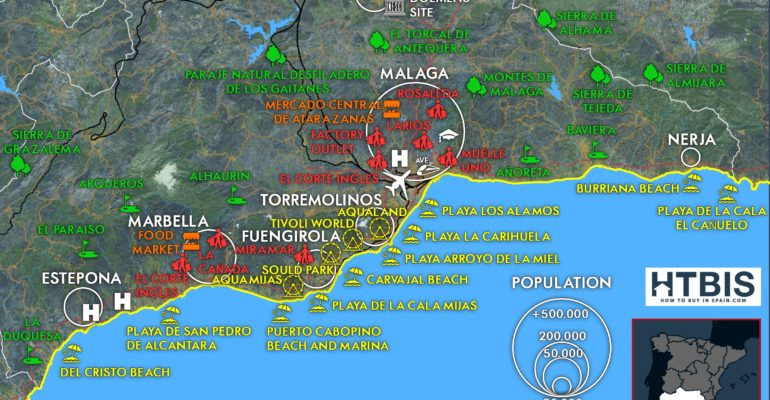 Map with all the useful information on the Costa del Sol