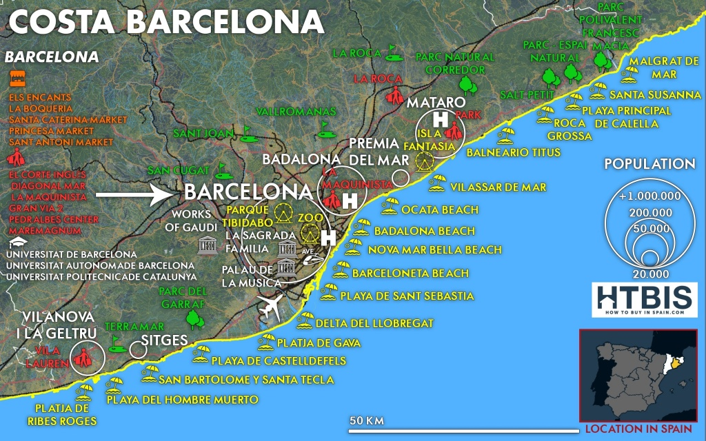 Costa de Barcelona map must see Places