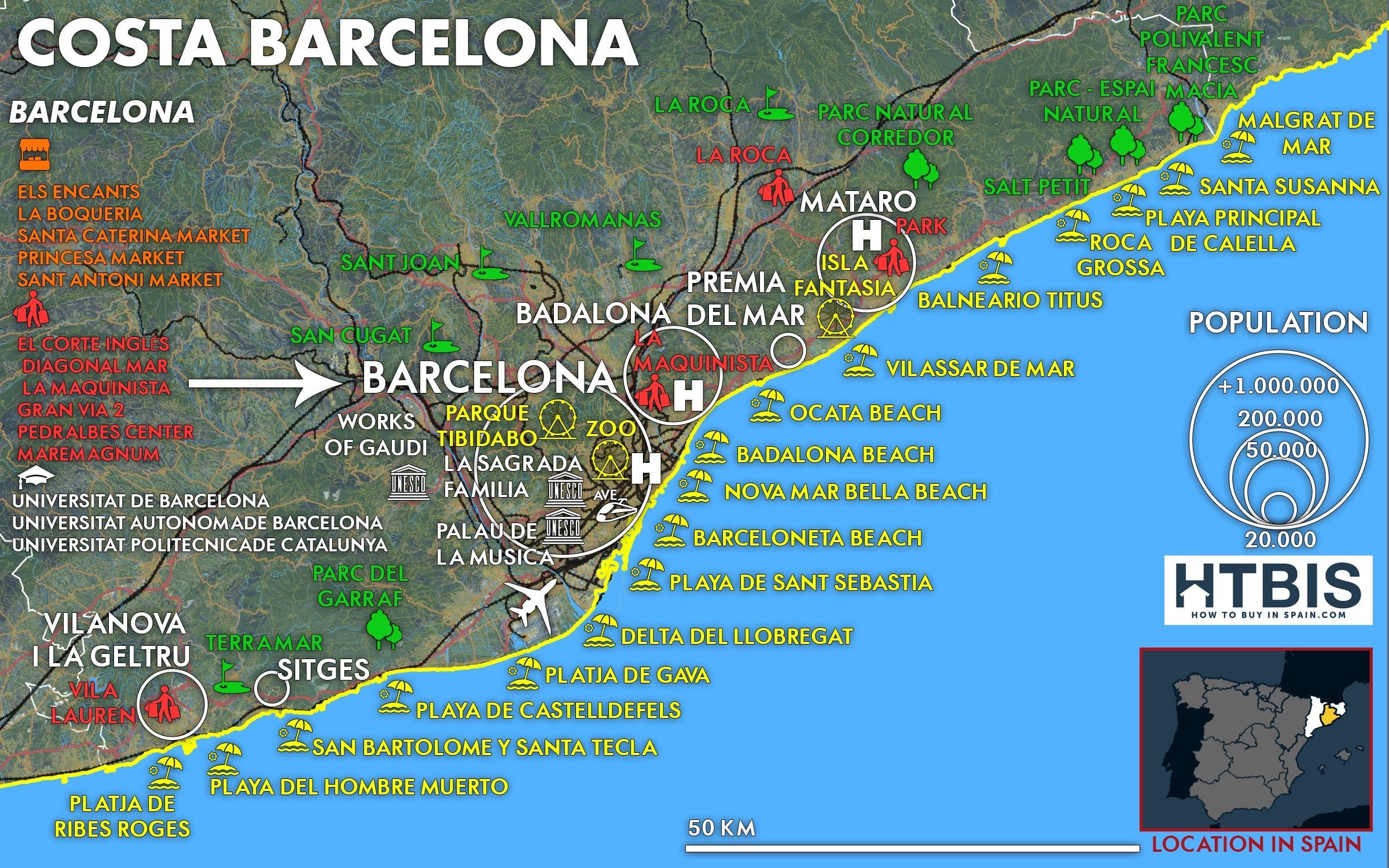 Costa de Barcelona must see Places