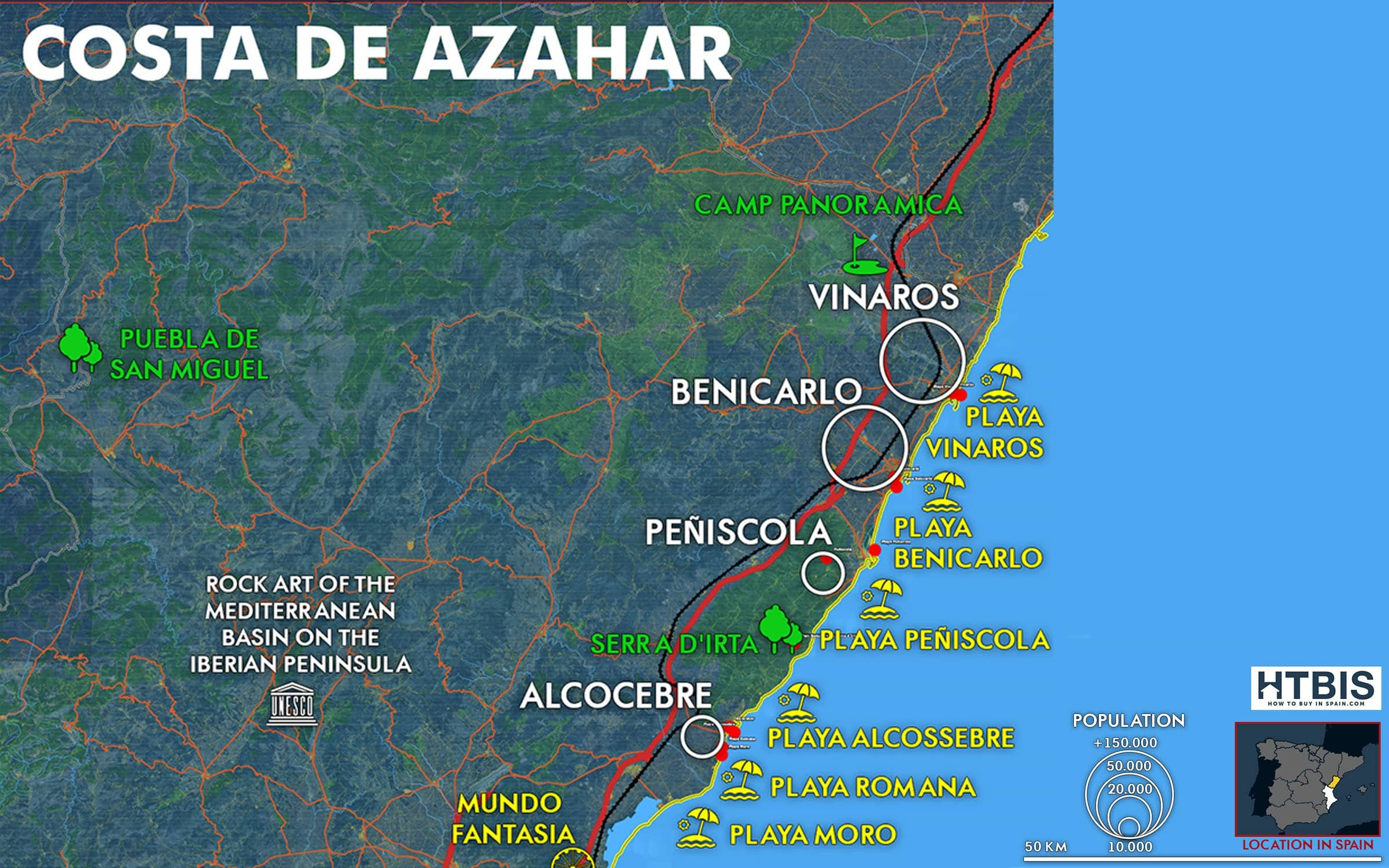 Costa de Azahar map Must see places