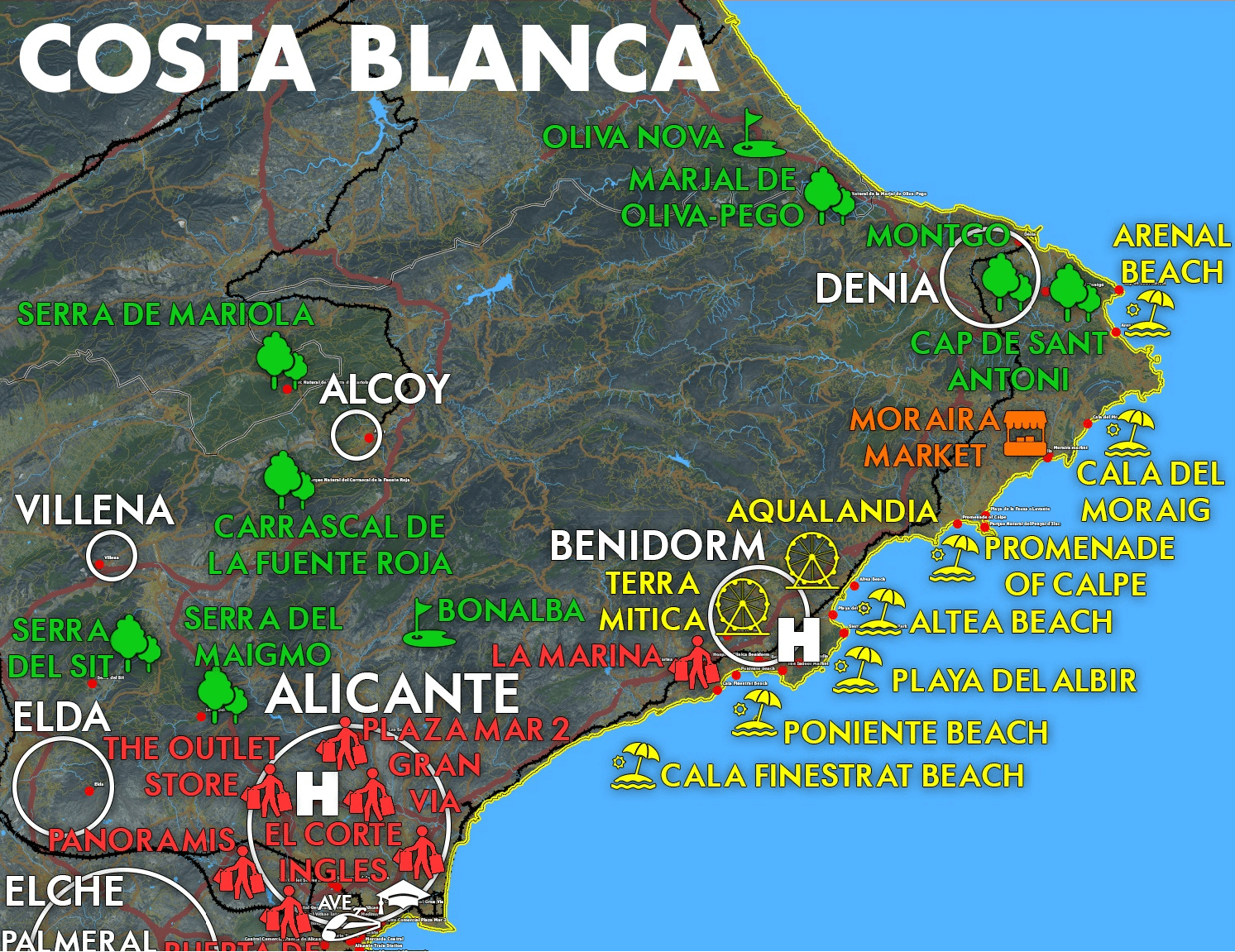 Costa Blanca map must see places Infographic