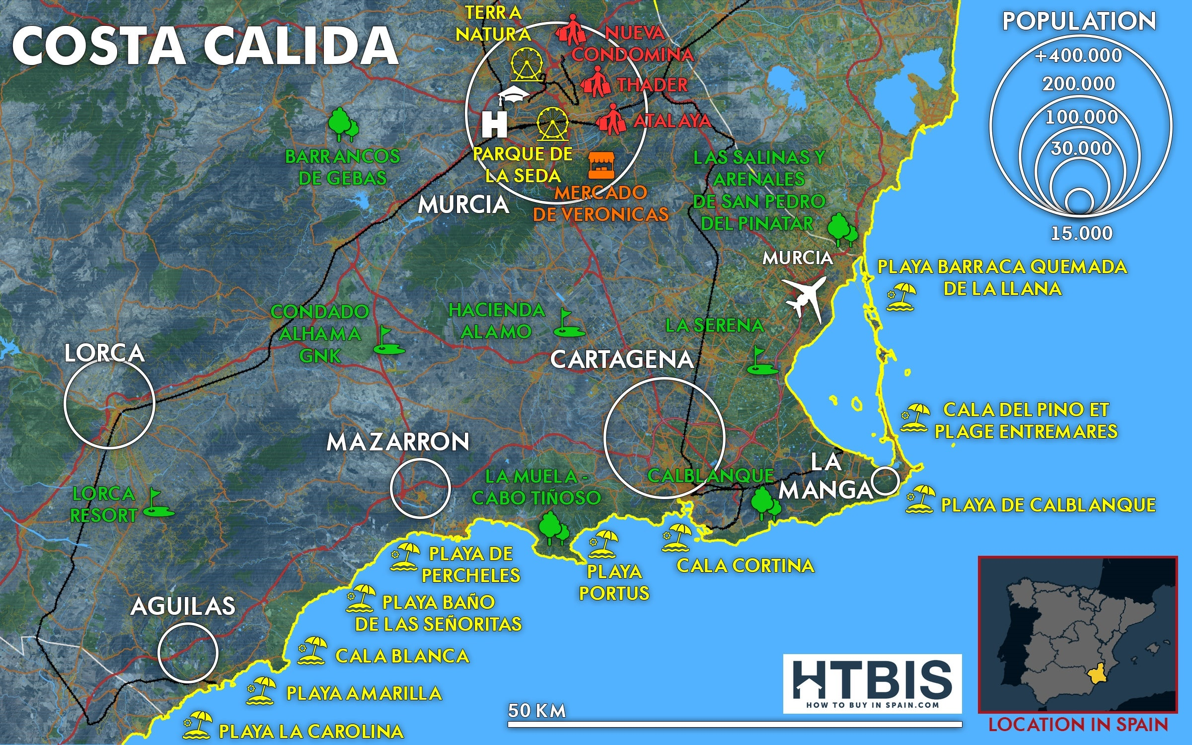 Costa Calida Map How To Buy In Spain