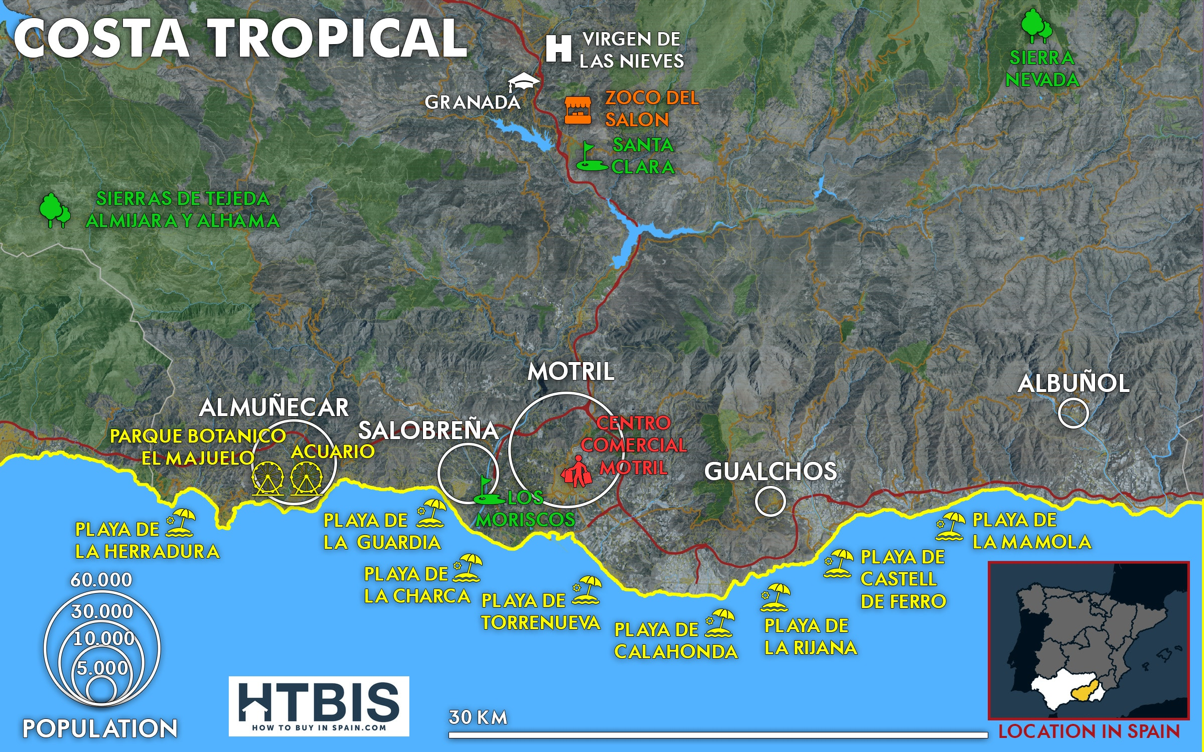 Map with all the must see places of the Costa Tropical