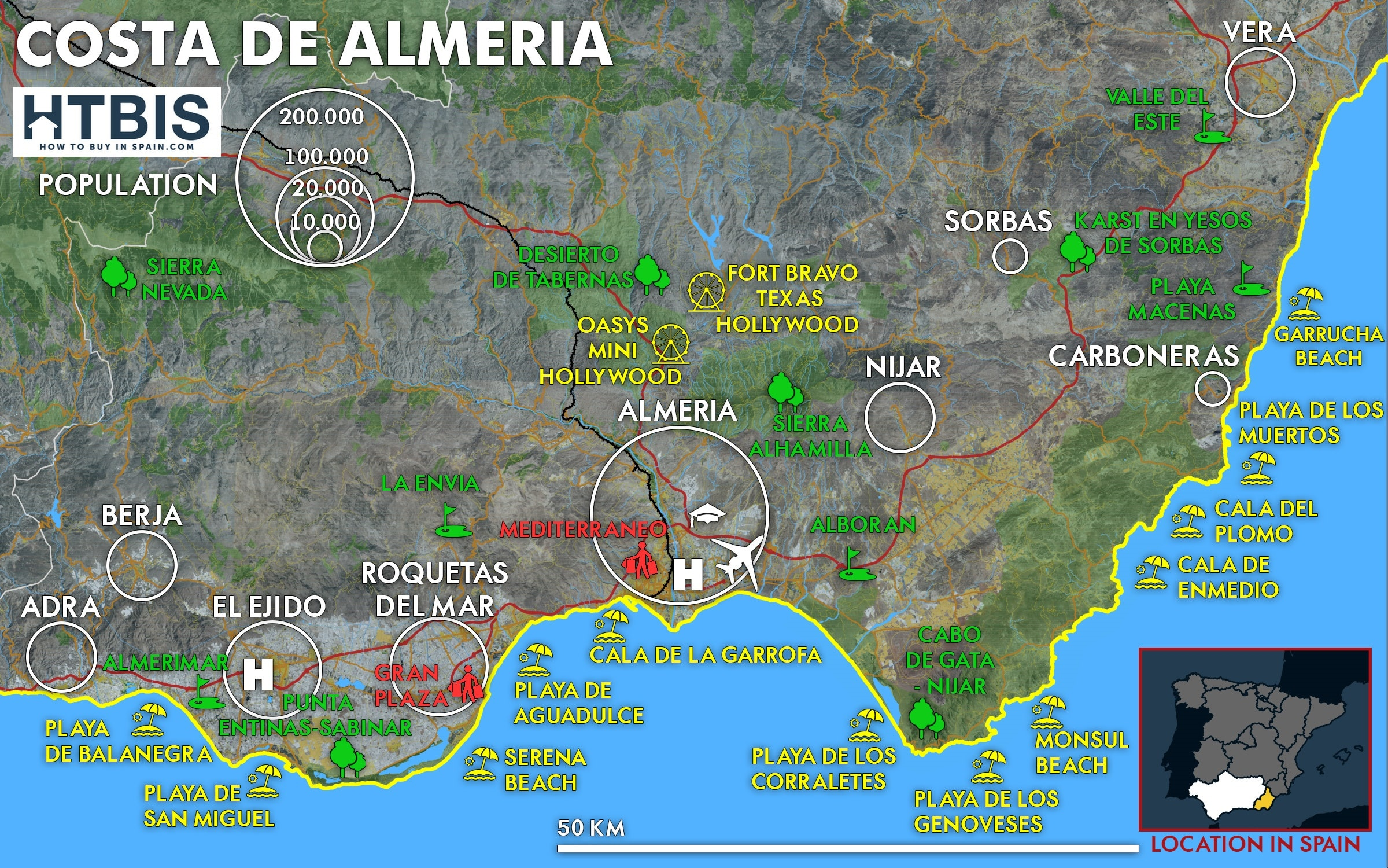 Costa Almeria Map Costa de Almeria map   How to buy in Spain