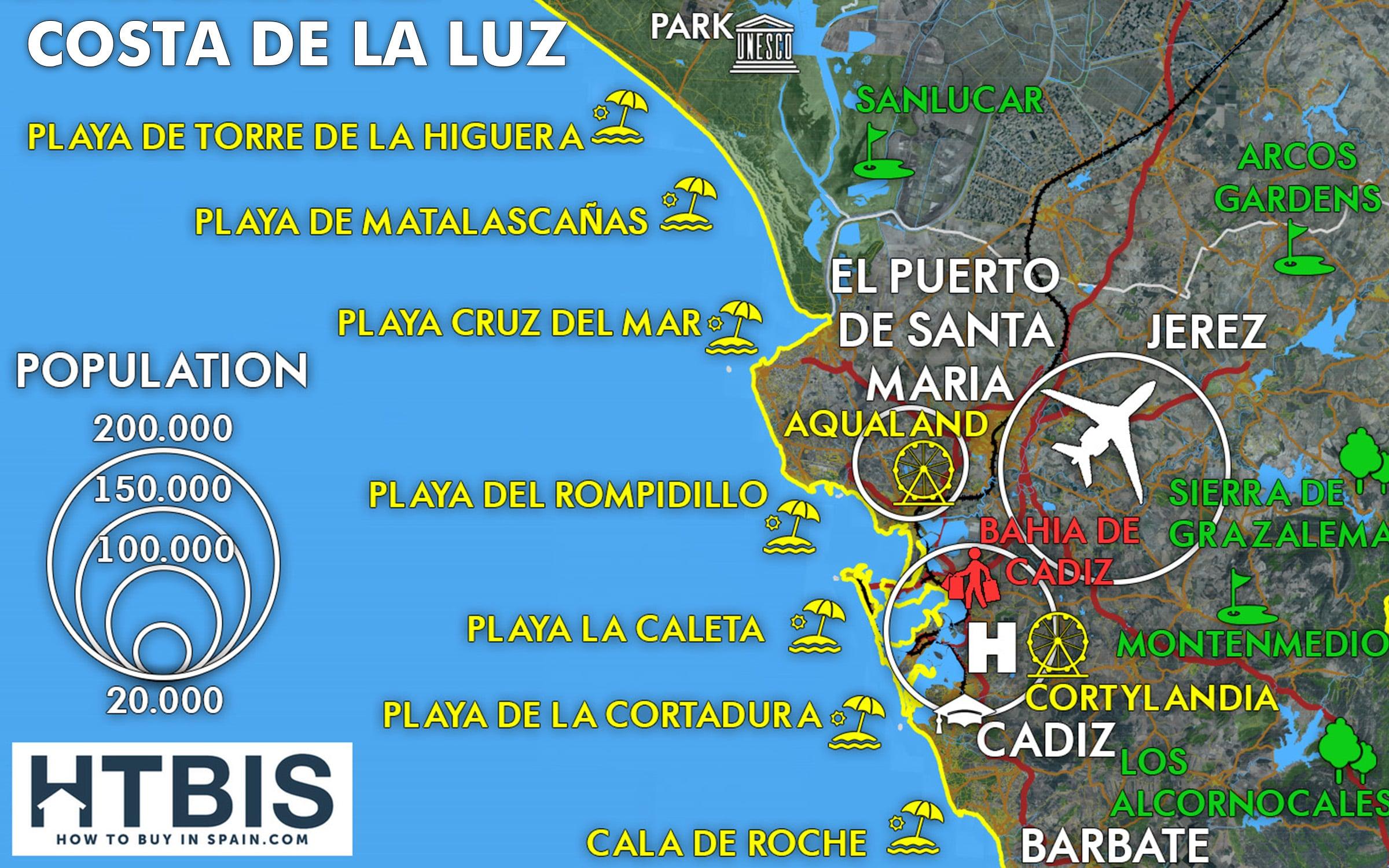 Costa De La Luz Spain Map.Costa De La Luz Thumbnail Map How To Buy In Spain