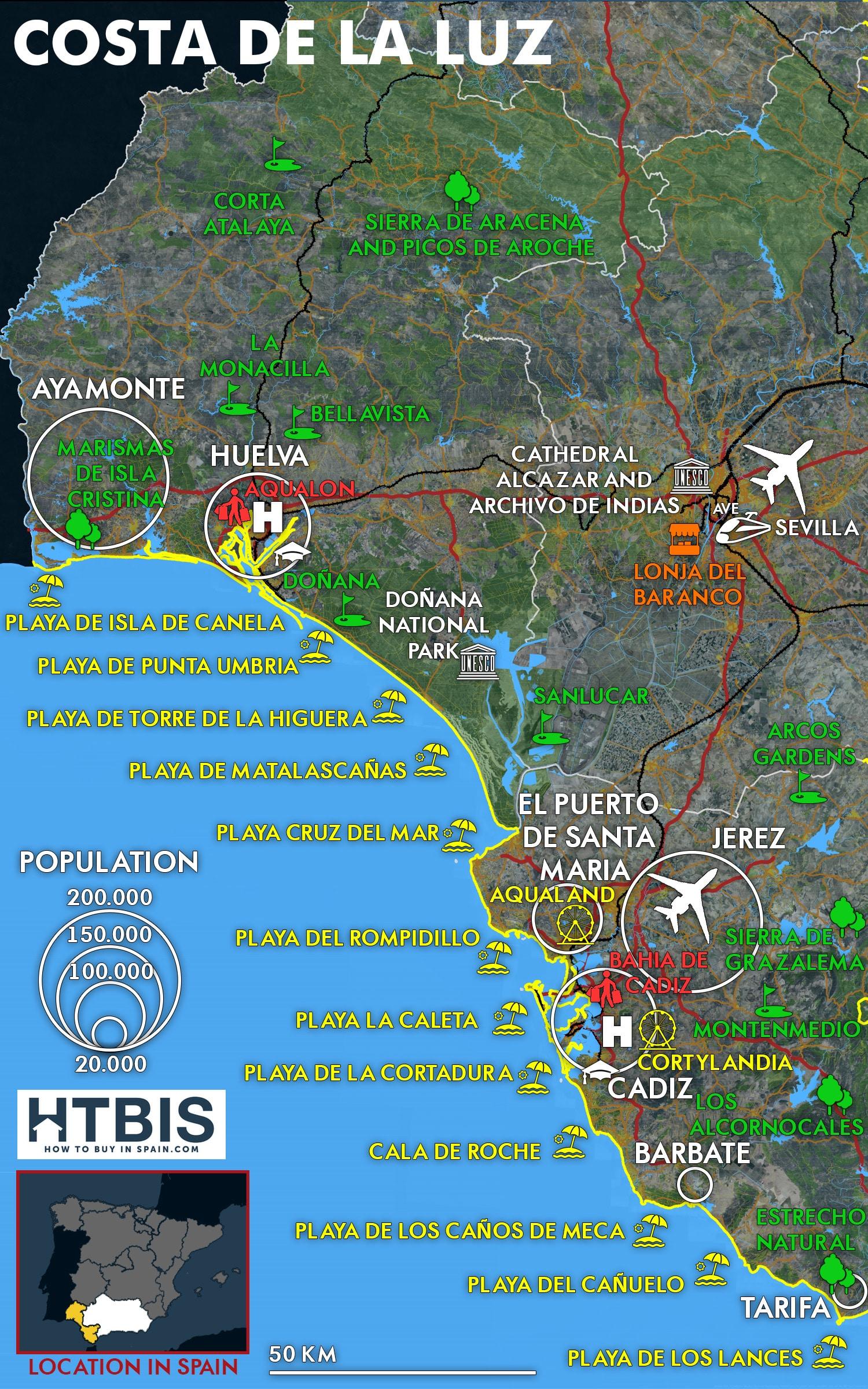 Map Of Spain Cadiz.Costa De La Luz Map How To Buy In Spain
