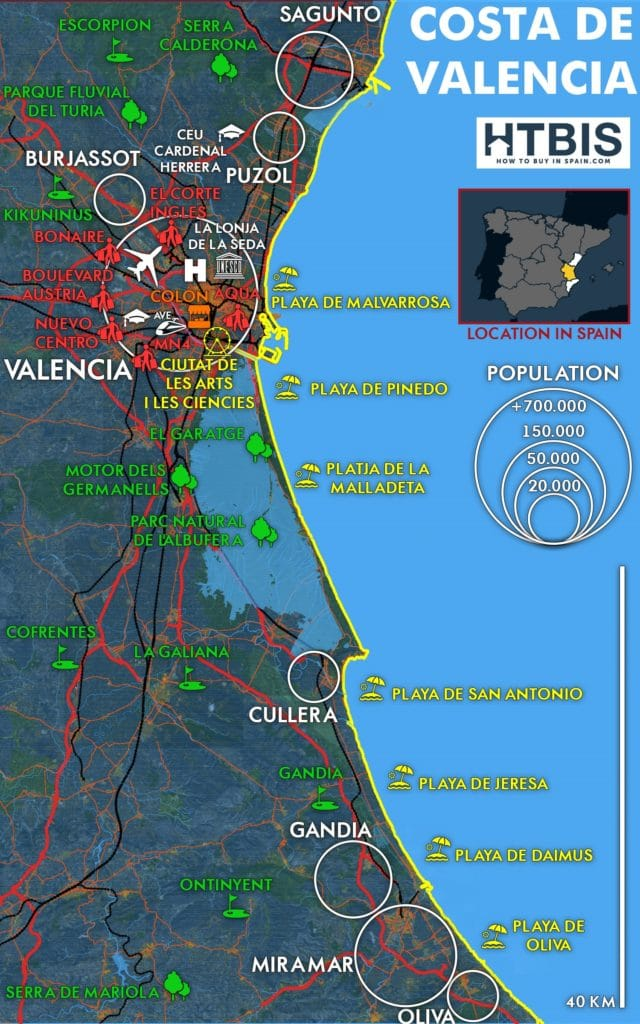Costa de Valencia Must see places map