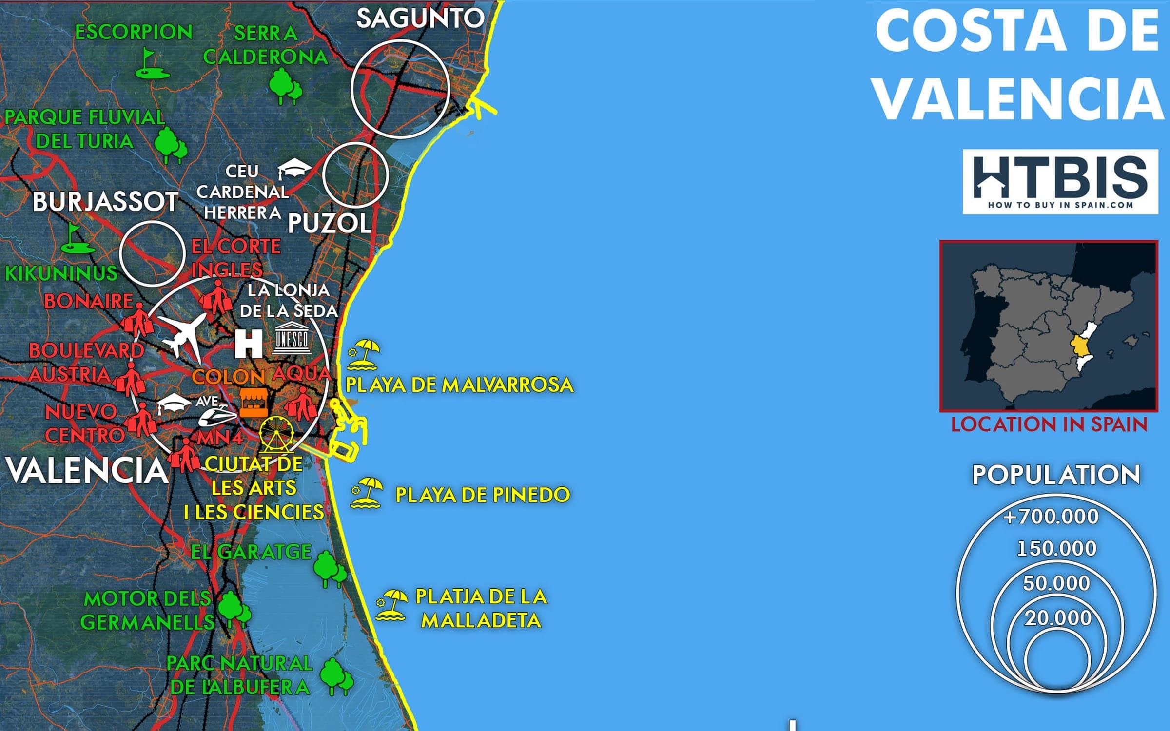 Costa de Valencia must see places map